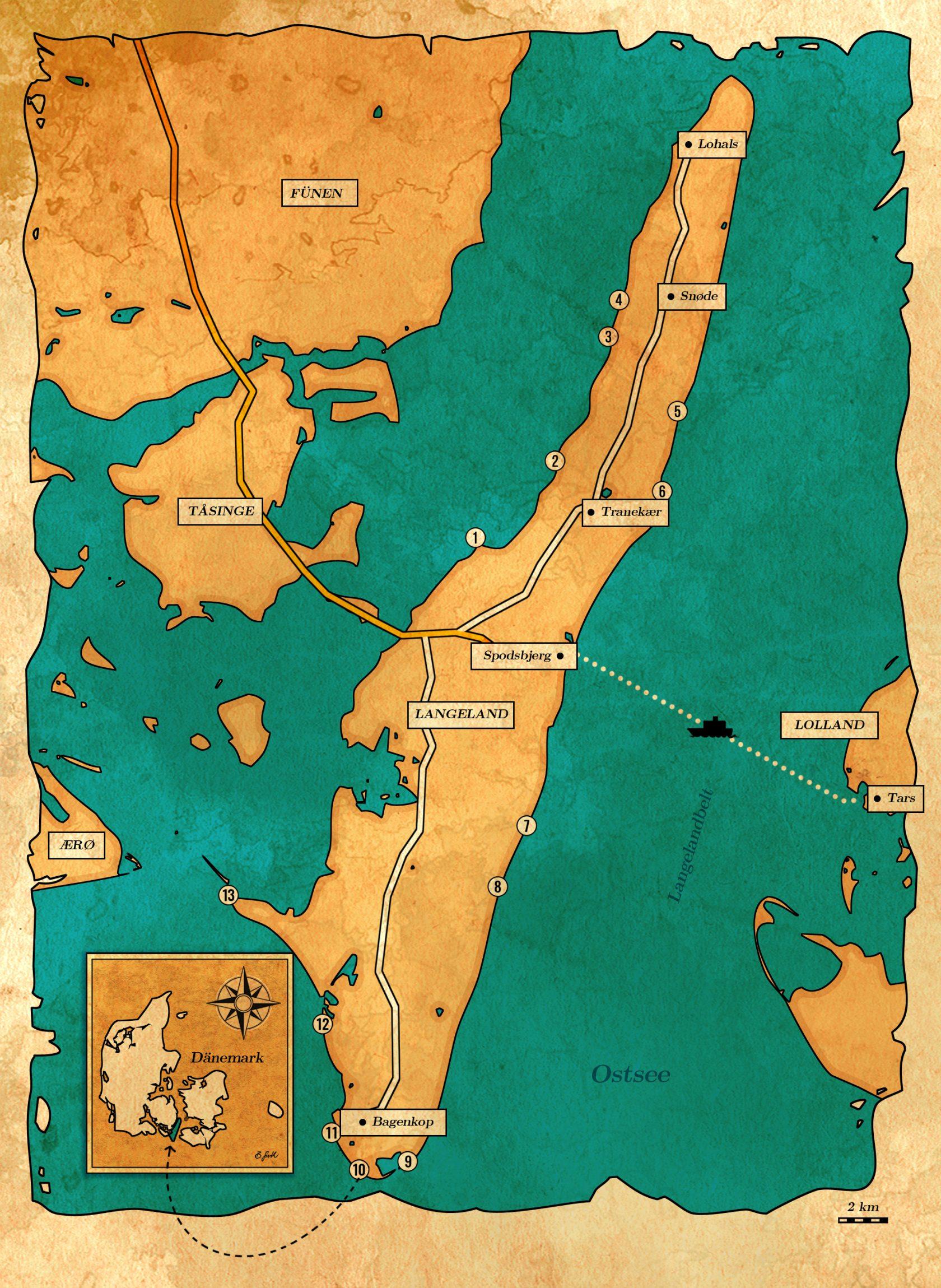 Angelplätze zum Meerforellenangeln auf Langeland