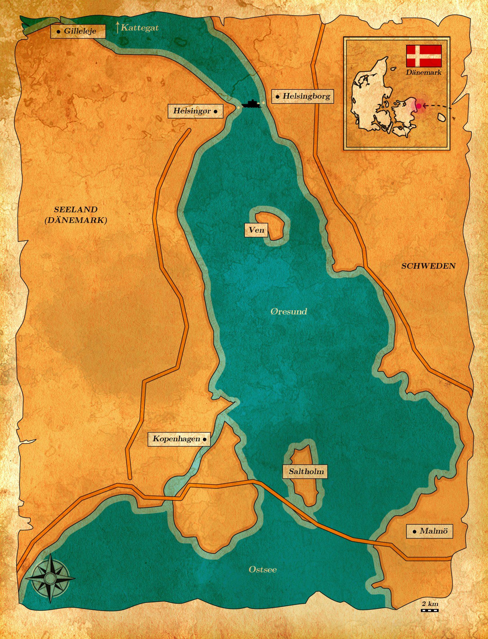 Karte vom Angelrevier Øresund