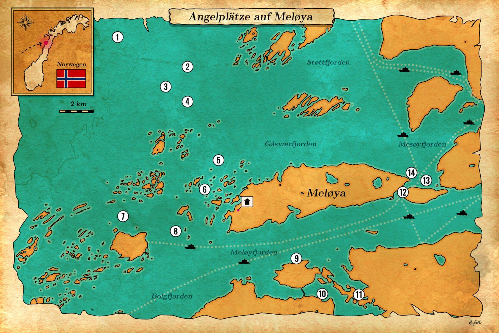 Angelplätze in Mittelnorwegen: Meløya
