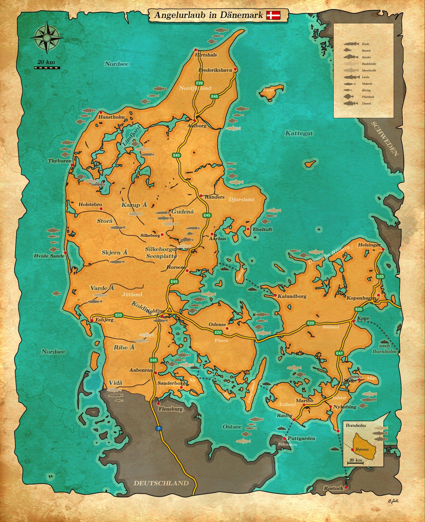Angelurlaub in Dänemark Karte