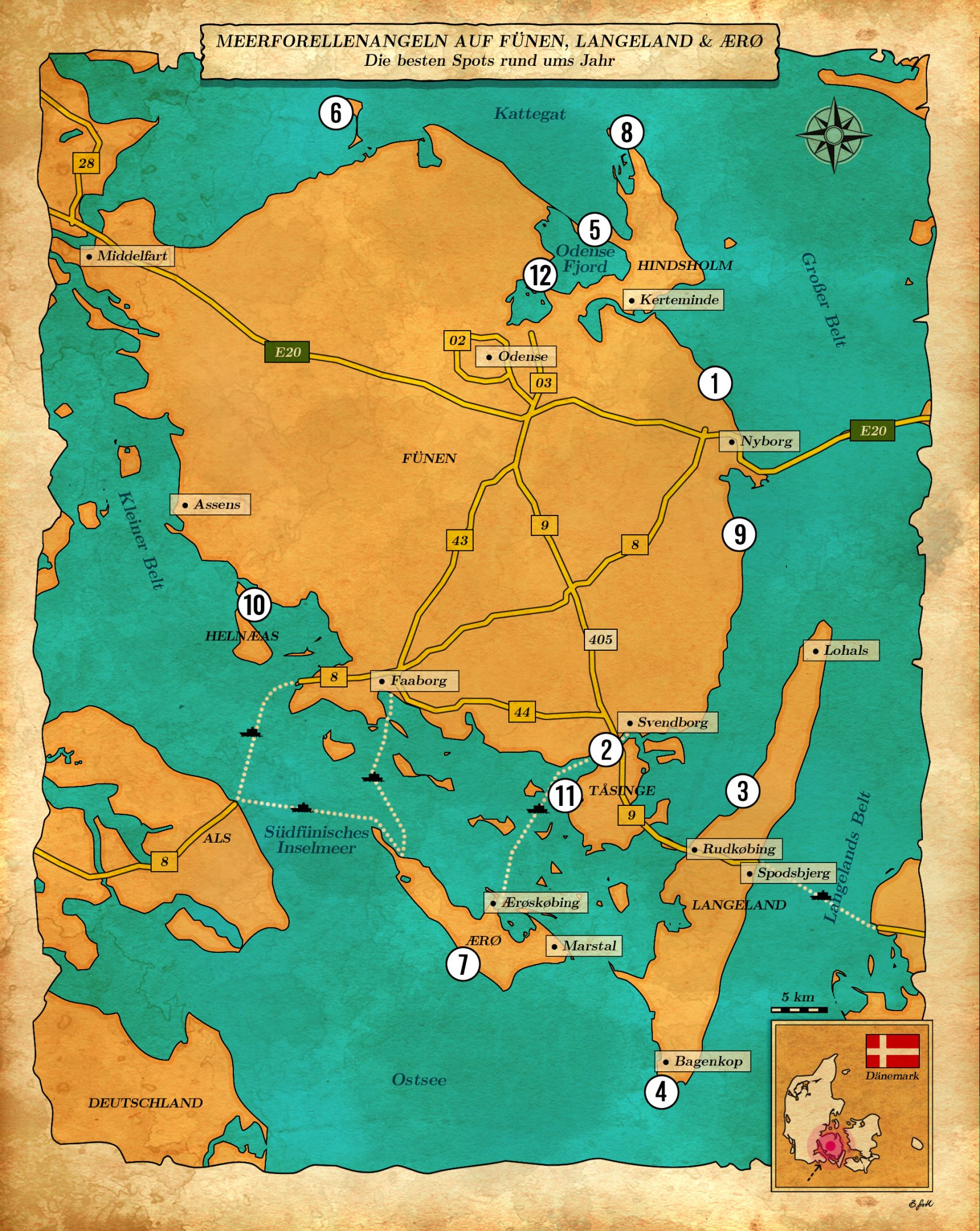 Karte mit Angelplätzen auf der Insel Fünen