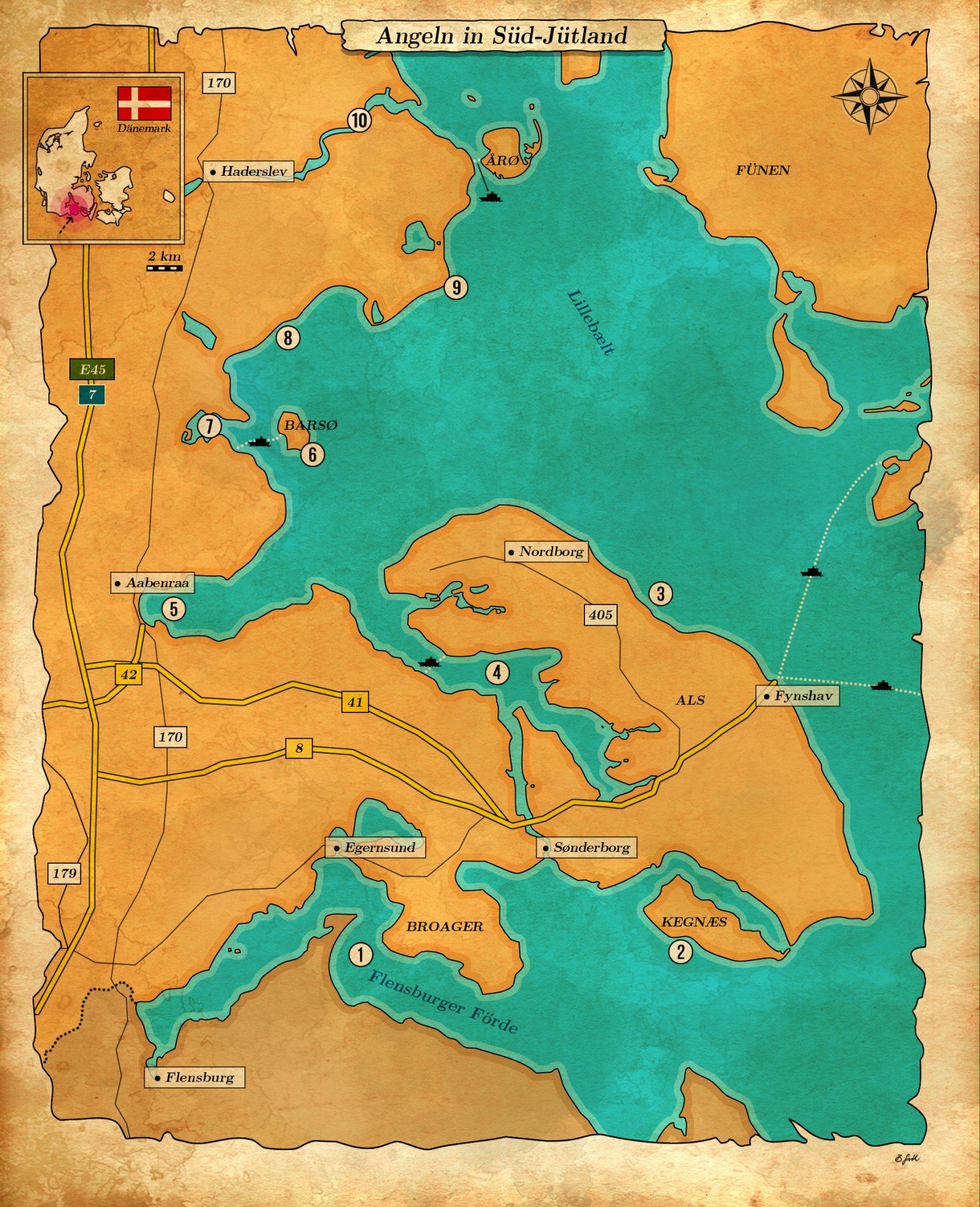 Karte über gute Angelplätzen an der Ostsee