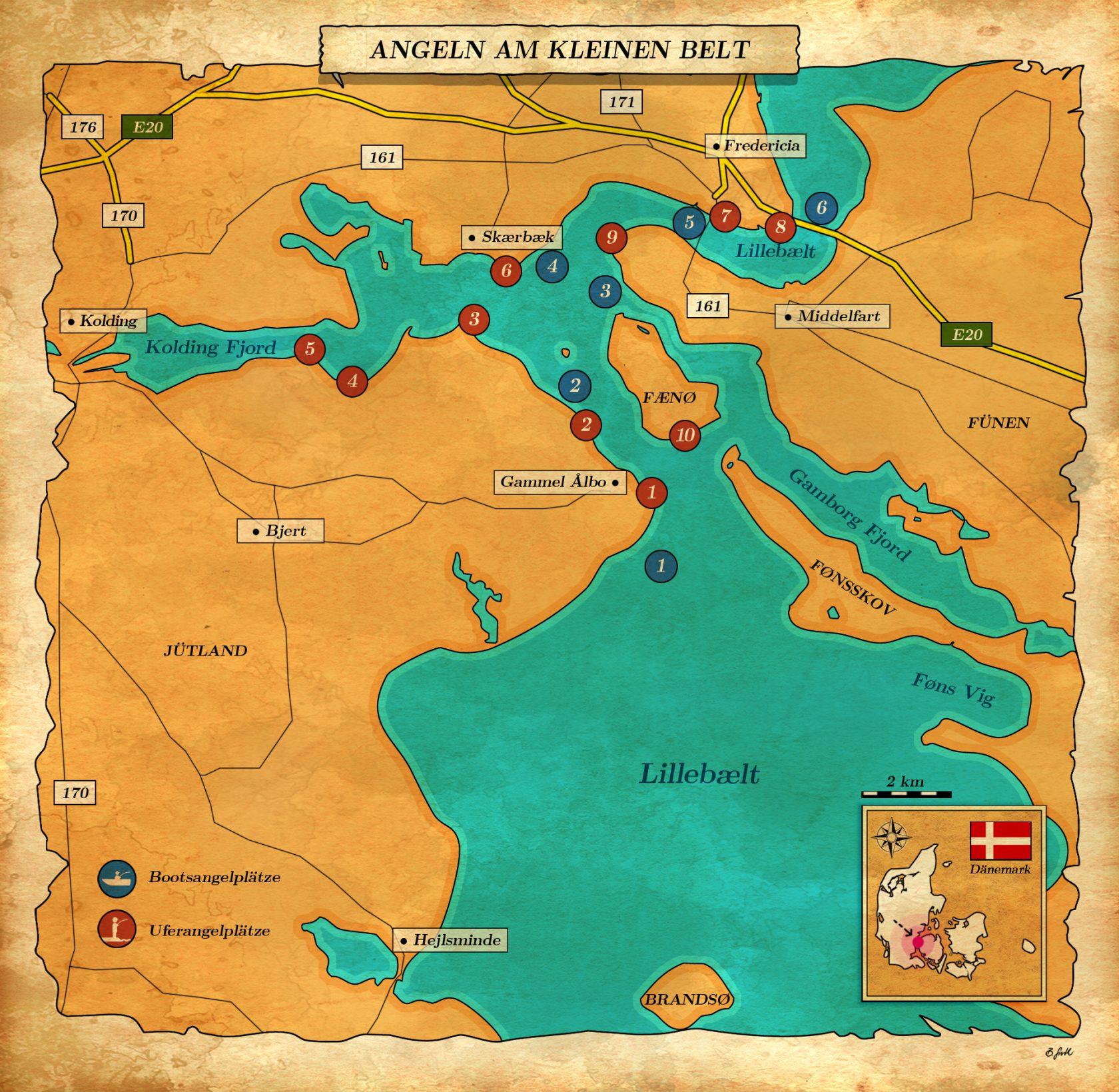 Karte mit Angelstellen Kleiner Belt