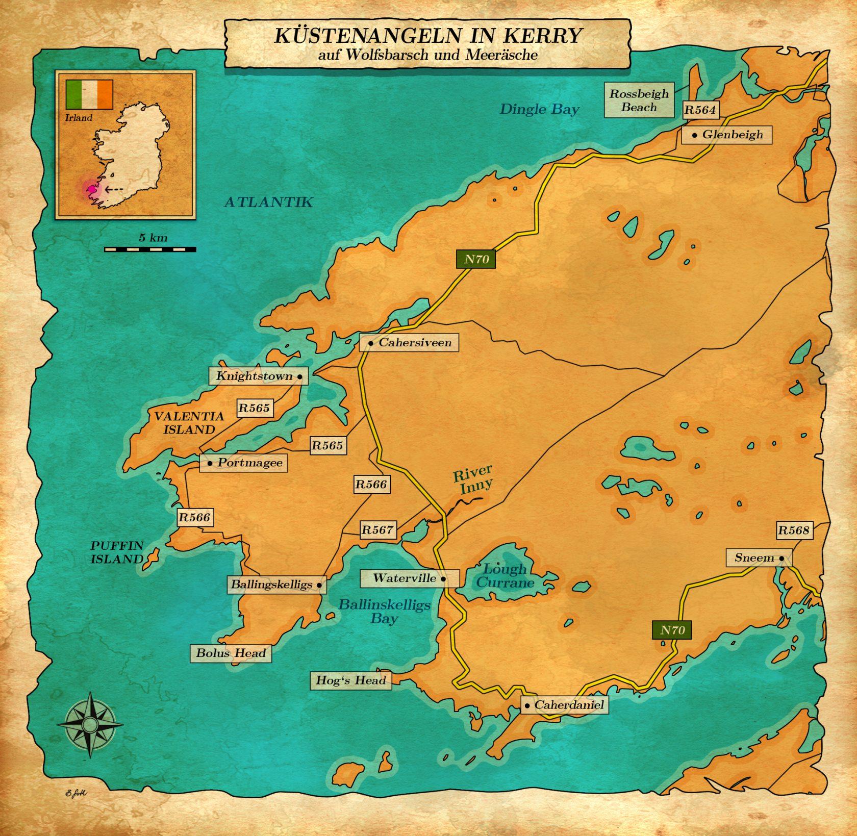 Karte Angeln in Kerry
