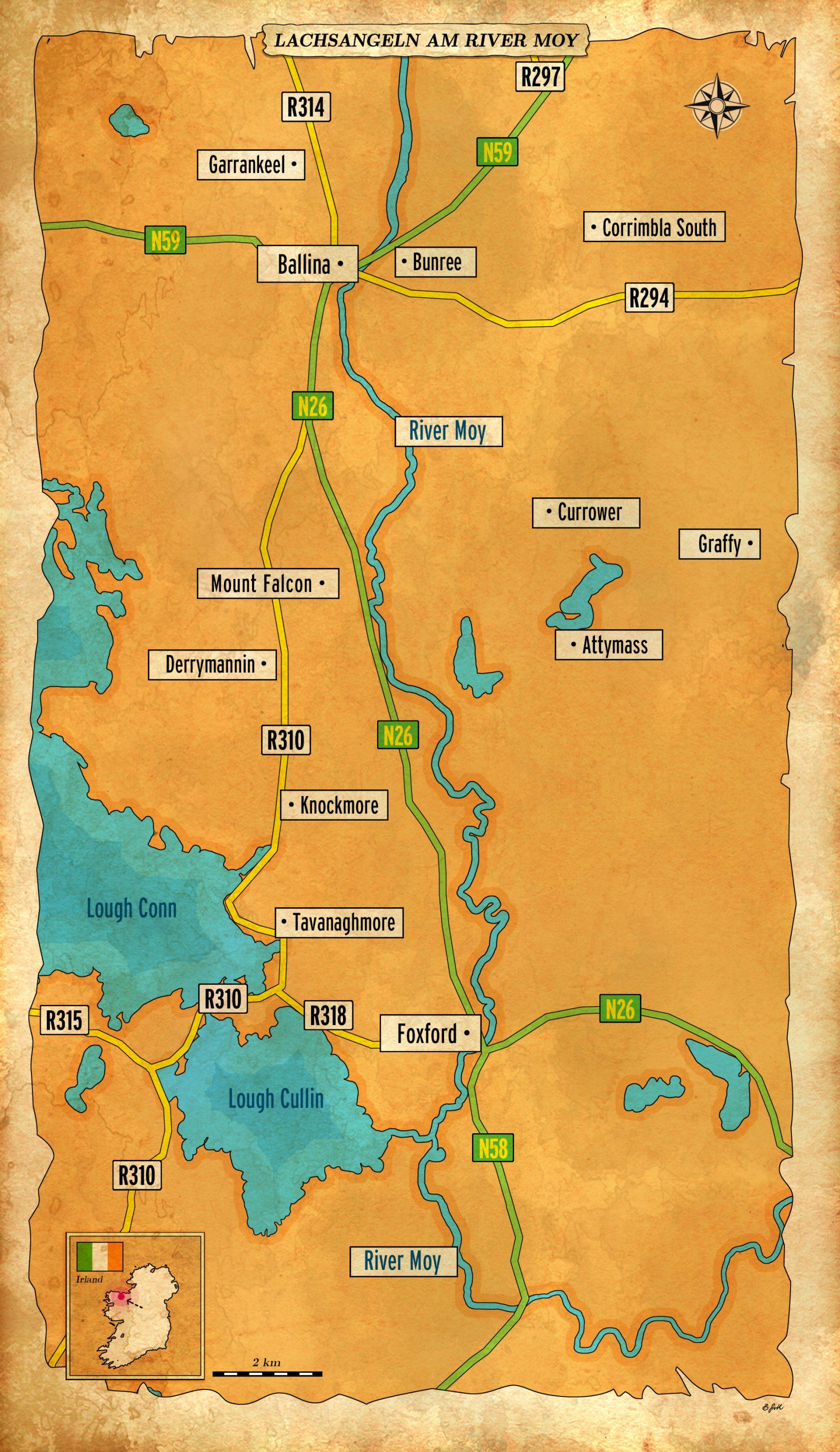 Karte vom Lachsangeln am River Moy
