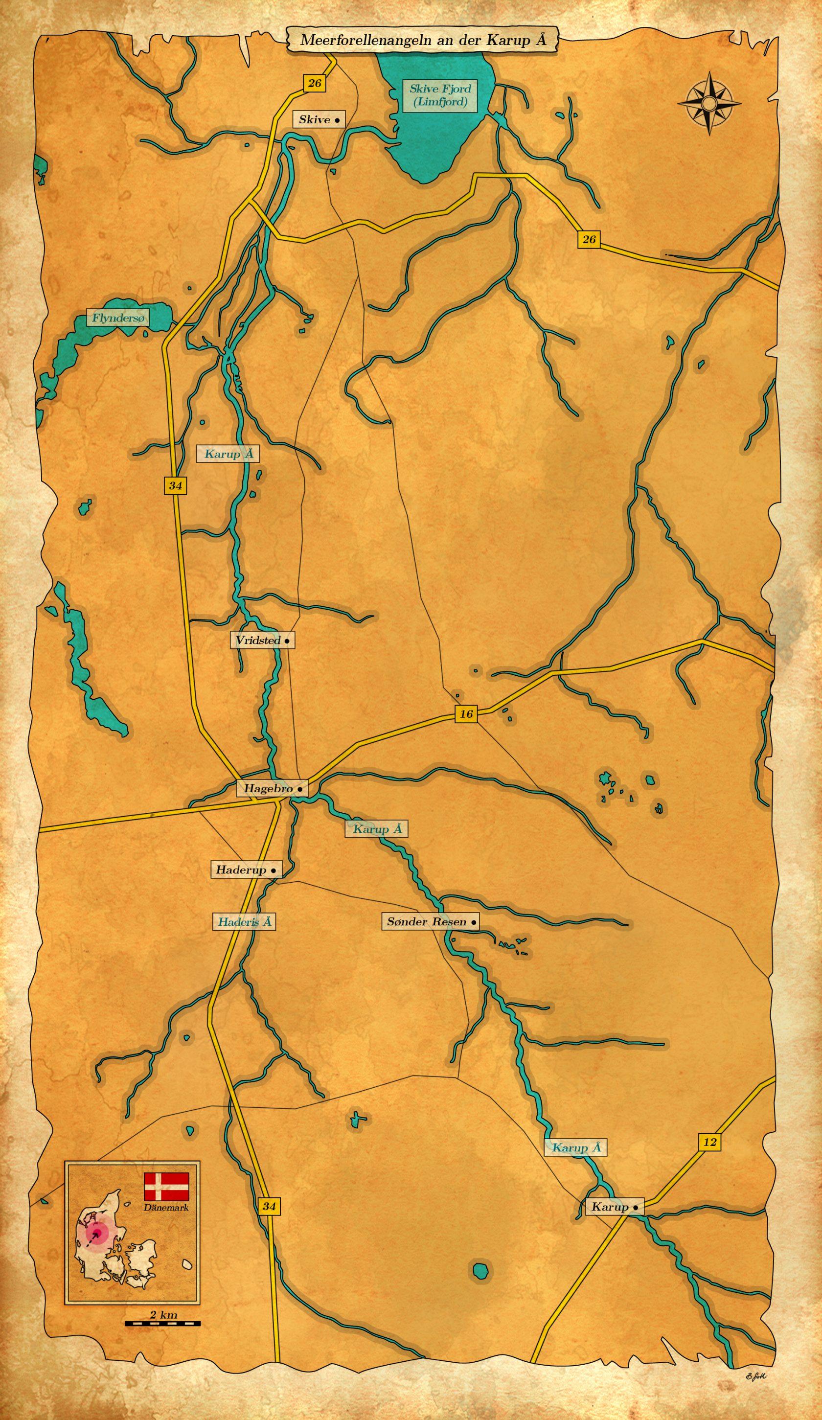 Karte Meerforellenangeln in der Karup Å