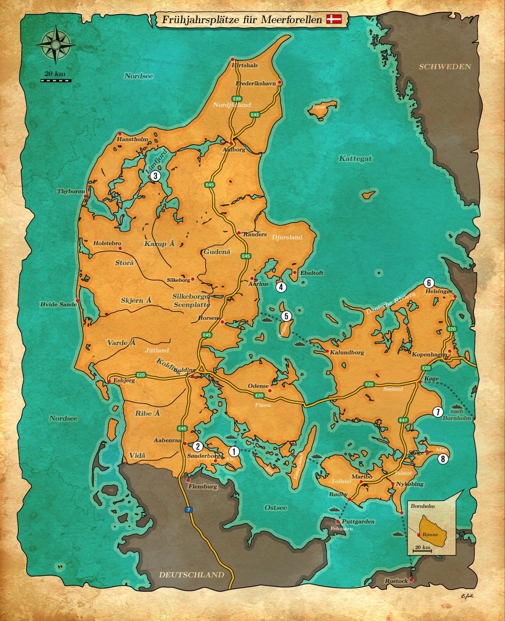 Karte Angelplätze für Meerforellen in Dänemark