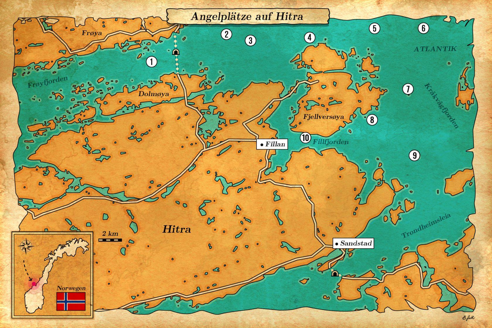 Angelplätze in Seekarte Hitra