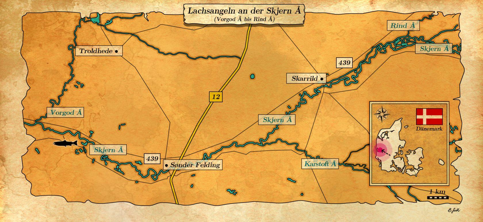 karte Lachsangeln an der Skjern Au