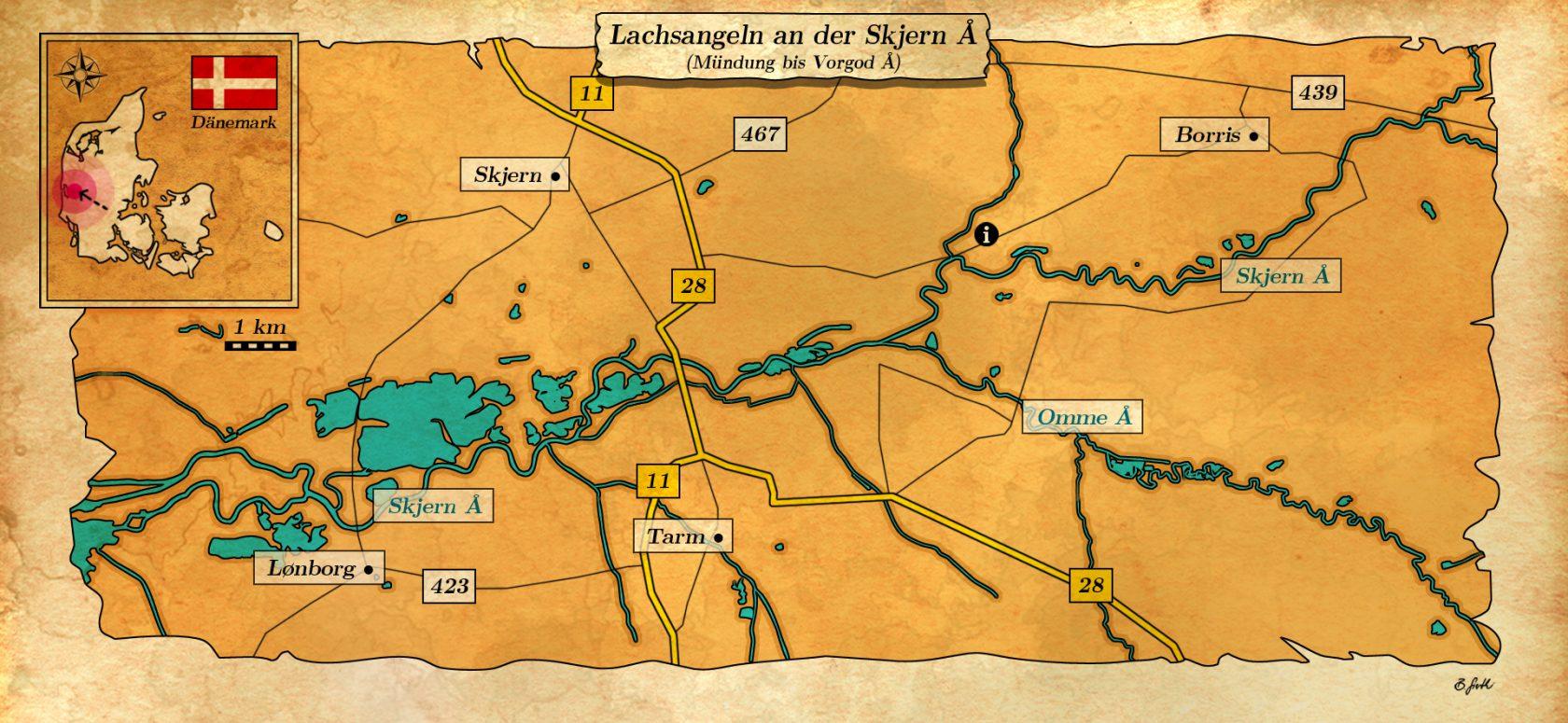 Karte über Lachsangeln an der Skjern Au