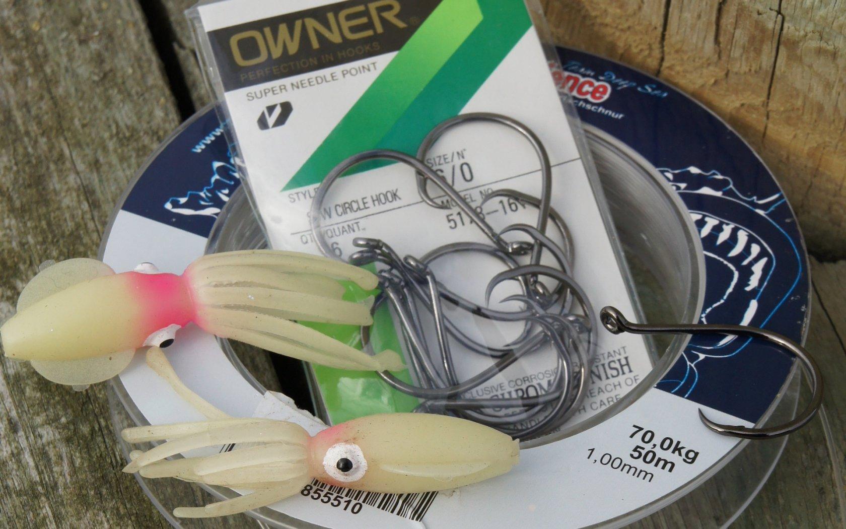 Rotbarsch angeln Circle Hooks Gummioktopusse
