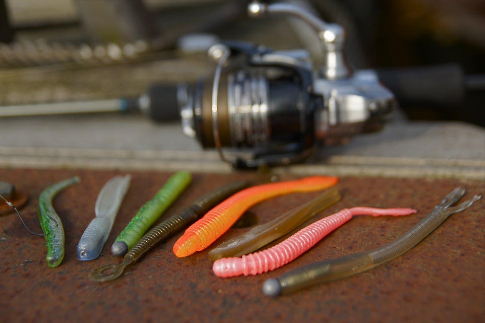 Einige Gummiwürmer zum Angeln mit Wacky Rig
