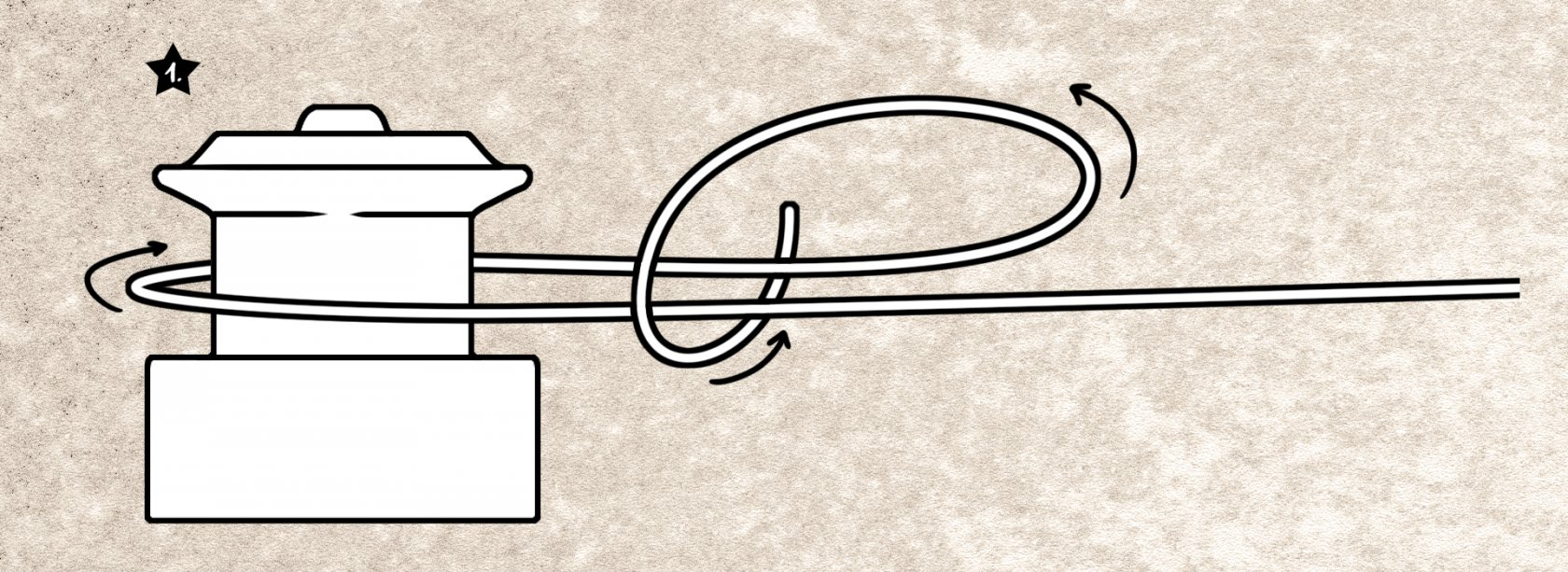 Uni-Knot als Spulenachsenknoten