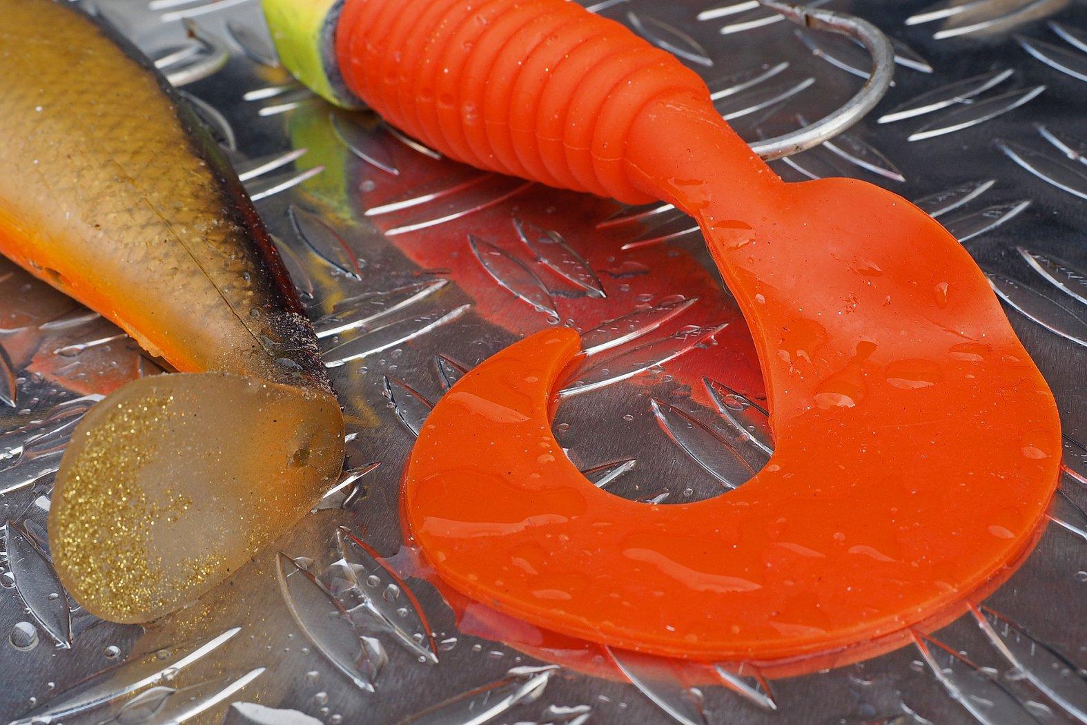 Gummiköder mit Sichel- und Schaufelschwanz