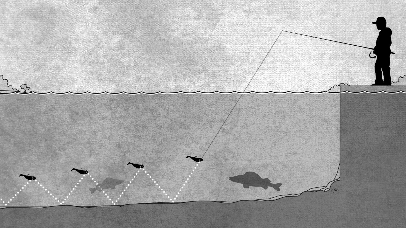köderführung gummifisch jiggen und faulenzer methode