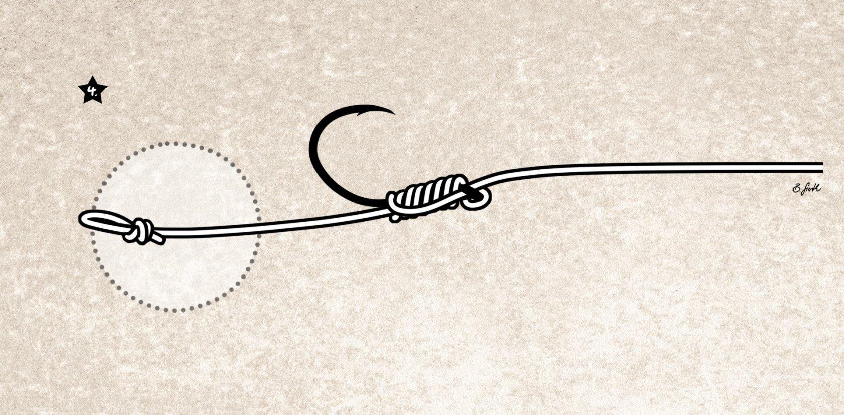 Knotenlos Haken binden