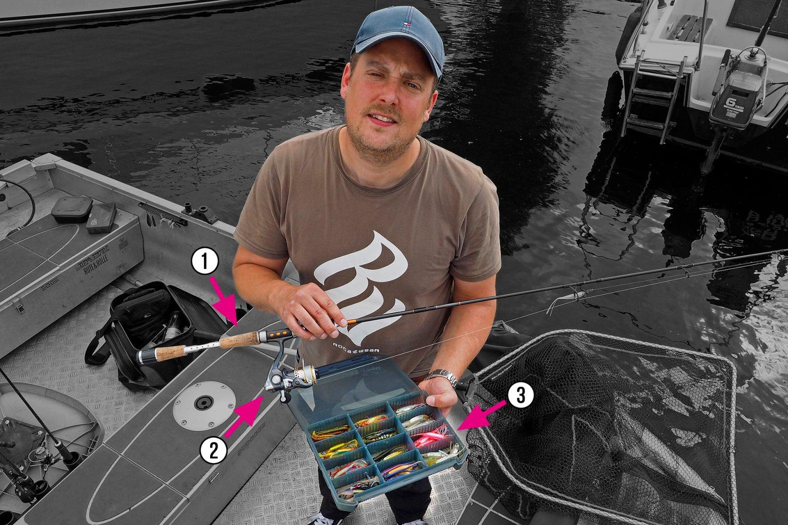 Gerät zum Barsch angeln mit Gummifisch