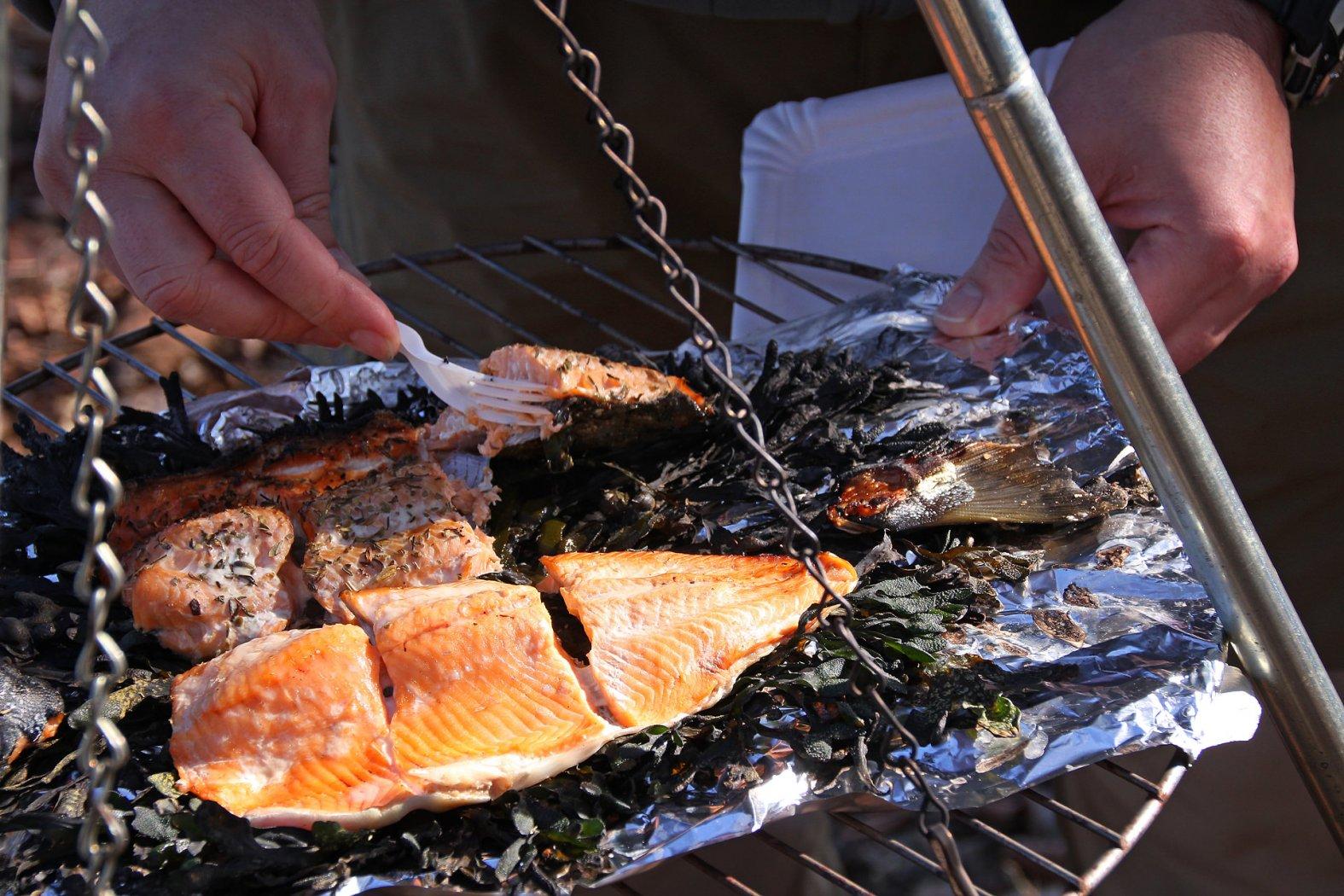 Forelle auf dem offenen Grill