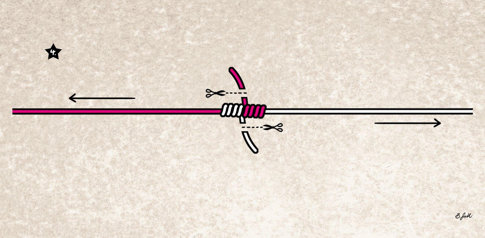 monofile Schnur verbinden mit dem Blutknoten