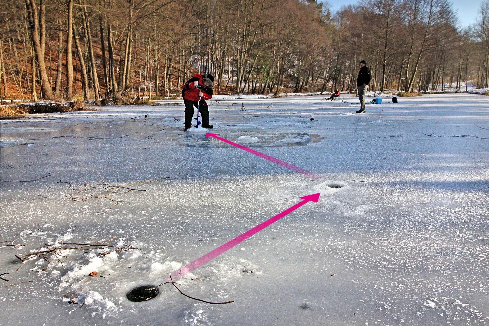 Fische finden beim Eisangeln