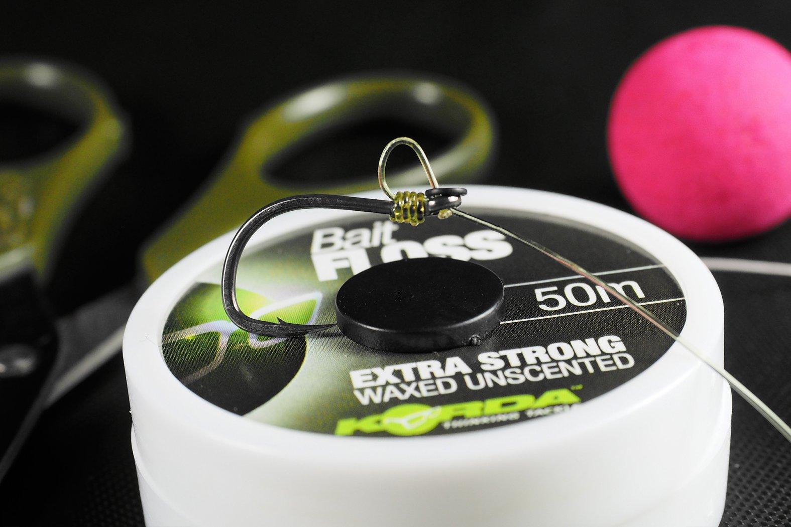 Pop Up Boilies mit Bait Floss befestigen