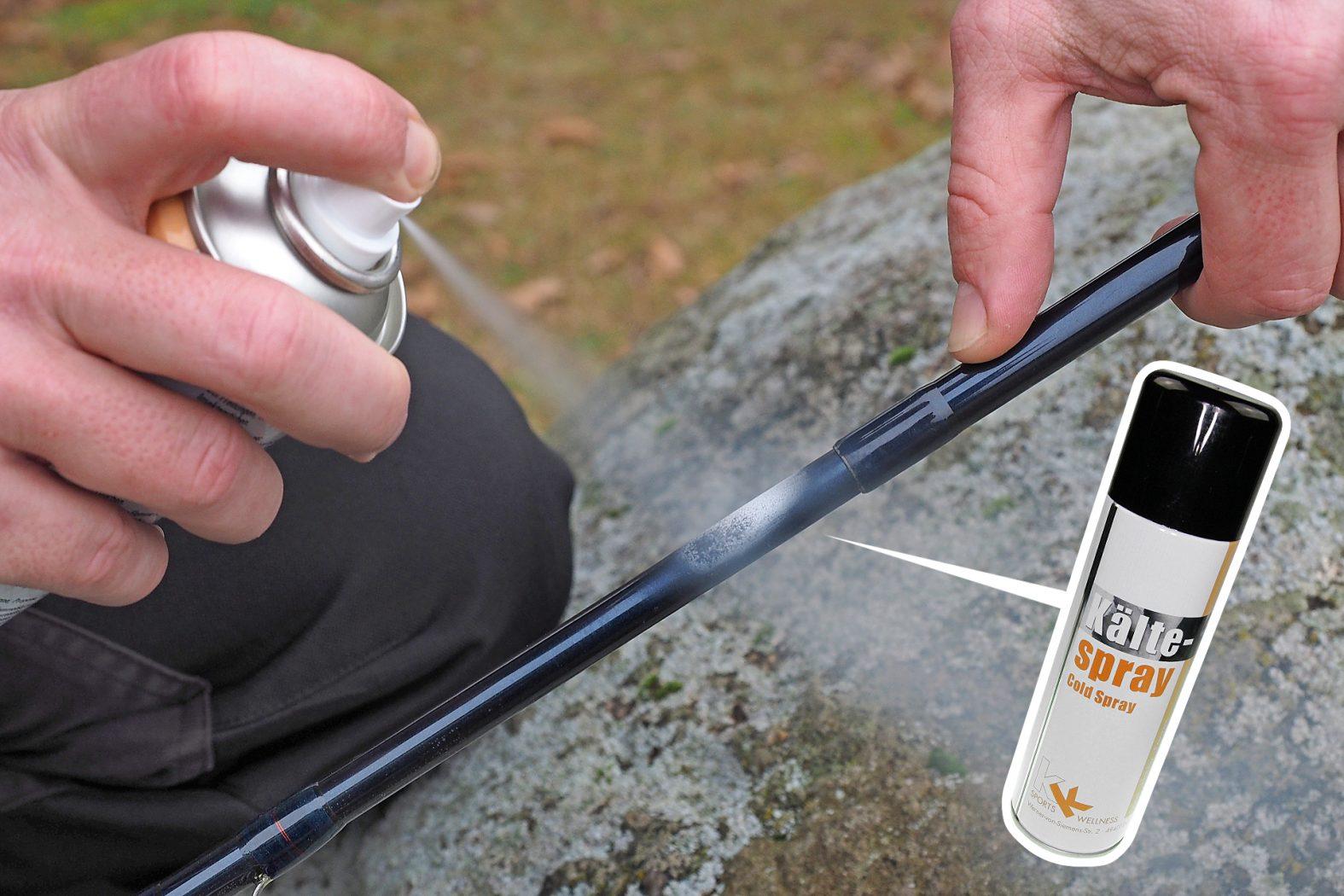 Angelruten Steckverbindung mit Eisspray lösen