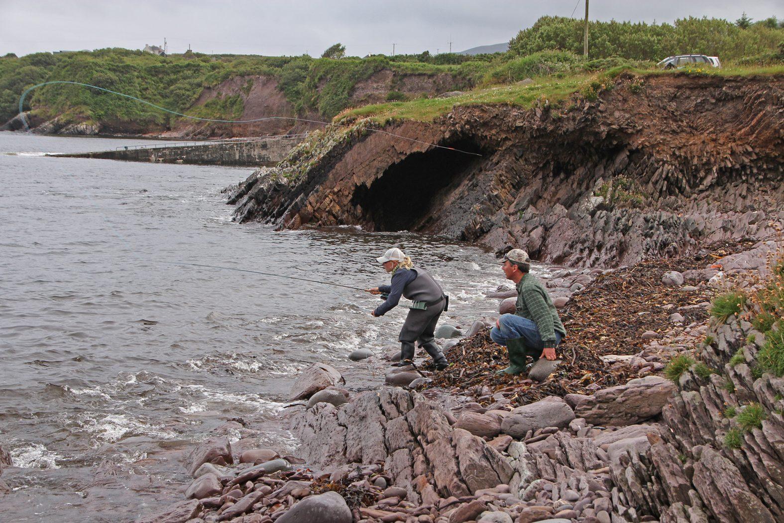 Meeräschen angeln von der Küste