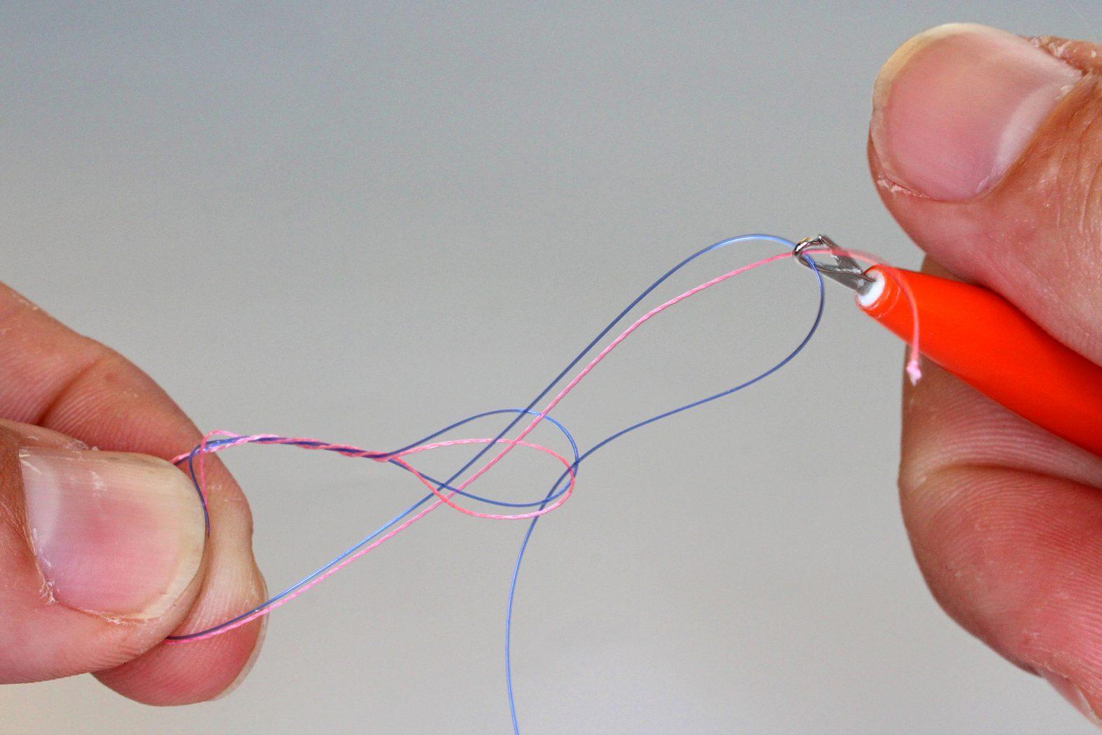 geflochtene Schnur mit Mono verbinden