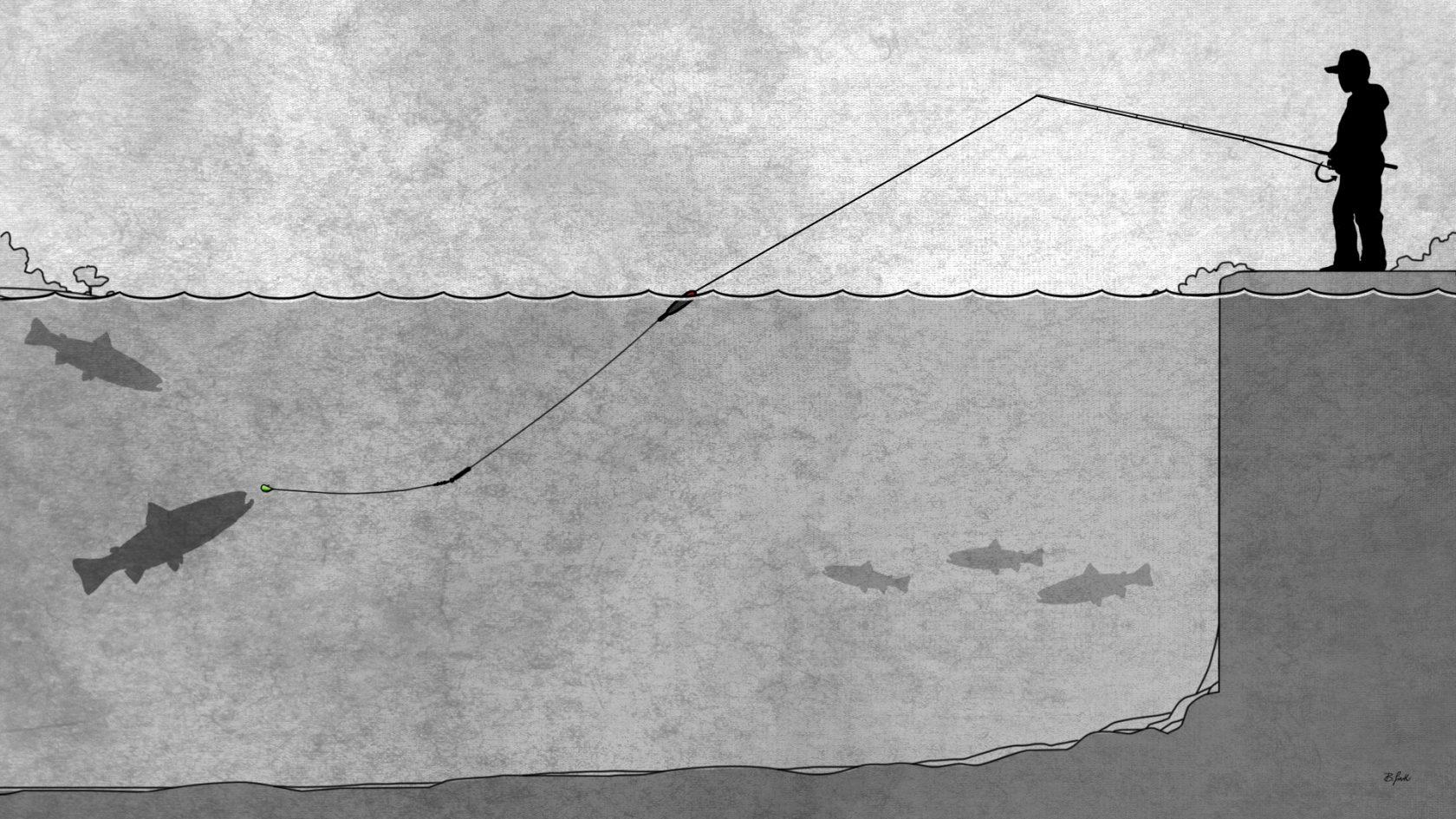 Montage für Forellen schleppen mit Pose