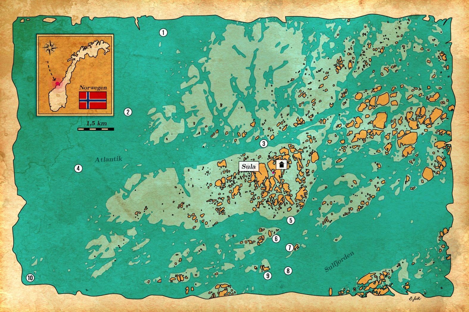 Angelplätze mit GPS-Daten Hitra, Frøya, Sula