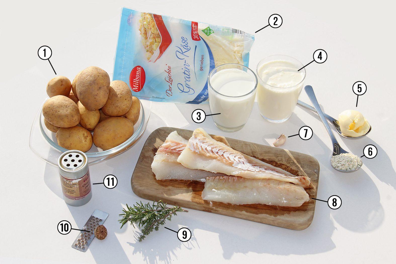 Das Rezept für gebackenen Fischauflauf mit Dorsch und Kartoffeln