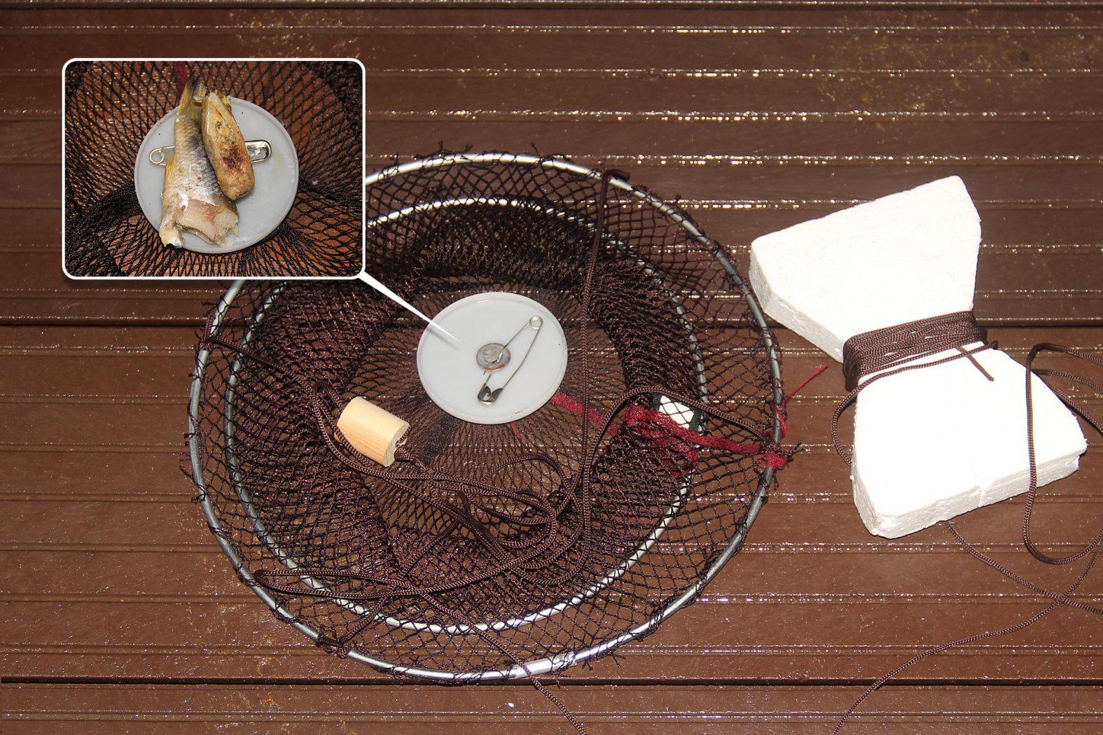 Flusskrebse mit einem Krebsteller oder einer Senke fangen