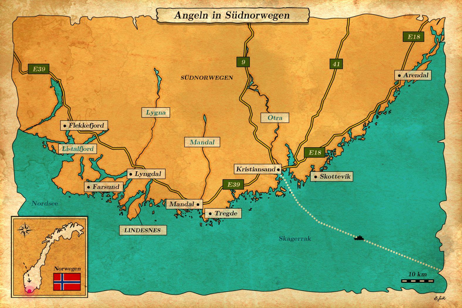 Angelurlaub in Südnorwegen bei Kristiansand