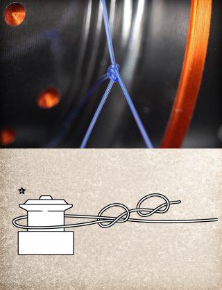 Spulenknoten für monofile Angelschnur binden